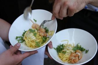 Pasta mit Scampis und Ruccola